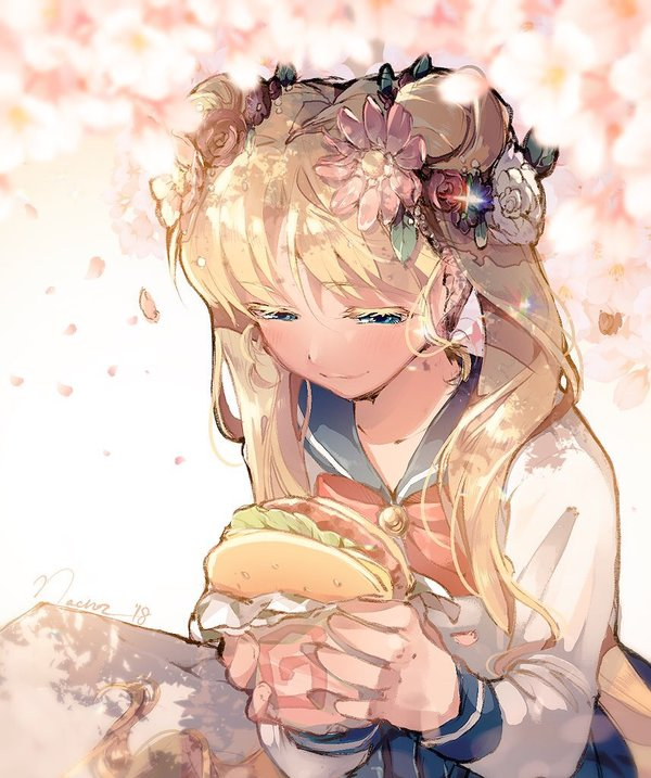 1girl bishoujo_senshi_sailor_moon blue_eyes colored_eyelashes food food_wrapper hamburger nachoz_(natsukichann) neck_ribbon ribbon sailor_moon school_uniform serafuku smile solo tsukino_usagi twintails