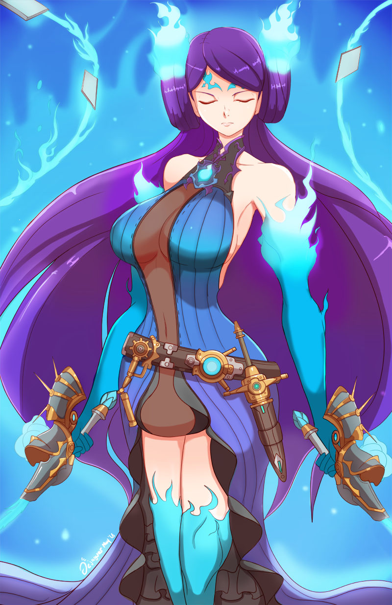 1girl banned_artist breasts collarbone dejaguar dual_wielding eyes_closed fire gloves highres kagutsuchi_(xenoblade) long_hair looking_at_viewer navel purple_hair simple_background smile solo sword weapon xenoblade_(series) xenoblade_2