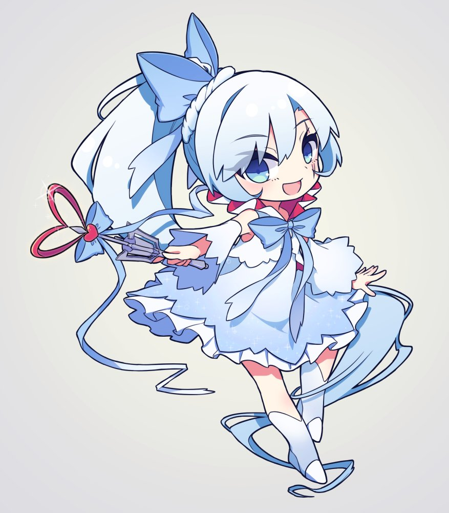 1girl bare_shoulders bow chibi detached_sleeves high_heel_boots long_hair magical_girl ribbon rwby scar scar_across_eye side_ponytail wand wedge_heels weiss_schnee white_dress white_footwear white_hair