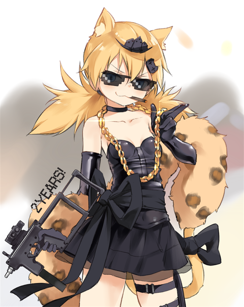:3 alternate_costume animal_ears black_dress black_gloves blonde_hair blue_eyes cat_ears chain choker cigarette deal_with_it dress girls_frontline glasses gloves gold_chain gun hair_between_eyes hair_ornament idw_(girls_frontline) kisetsu mlg parker-hale_idw ribbon skirt solo stole strapless strapless_dress submachine_gun tail thigh_strap tiara twintails weapon
