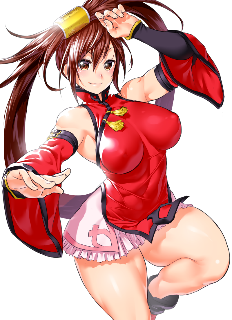 bangs bare_shoulders blush breasts brown_eyes brown_hair china_dress chinese_clothes closed_mouth commentary_request covered_nipples dress fighting_stance fingernails frills guilty_gear hair_ornament hair_tubes hands_up kuradoberi_jam large_breasts leg_up long_hair looking_at_viewer miniskirt onsoku_maru shiny shiny_hair shiny_skin sidelocks simple_background skirt sleeveless smile solo thick_thighs thighs very_long_hair wide_sleeves