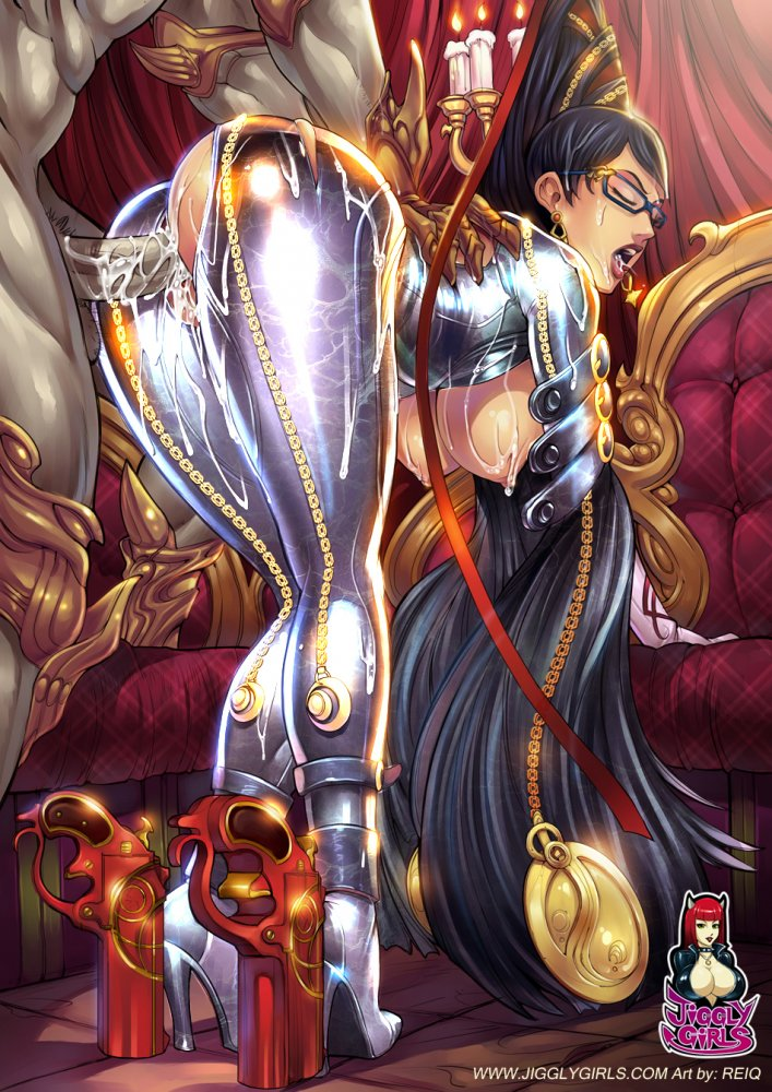 1girl bayonetta bayonetta_(character) belt black_hair bodysuit breasts candle clothed_sex copyright_name cum cum_in_mouth cum_in_pussy cum_on_body eyes_closed from_behind glasses hair_ornament high_heels jiggly_girls open_mouth penetration reiq sex torn_clothes vaginal
