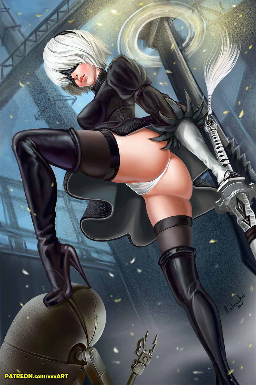 1girl ass black_dress black_hairband blindfold boots cleavage_cutout covered_eyes crotch dress feather-trimmed_sleeves from_below hairband high_heel_boots high_heels highres holding holding_sword holding_weapon juliet_sleeves leotard long_sleeves nier_(series) nier_automata panties pantyshot pink_lips puffy_sleeves ribbed_dress robot rzhevskii silver_hair skirt stepped_on sword thigh_boots thighhighs thighhighs_under_boots thighs underwear upskirt vambraces weapon white_leotard yorha_no._2_type_b