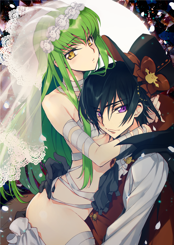 1girl bandages bangs black_hair bodysuit breasts bridal_veil c.c. cleavage closed_mouth code_geass commentary_request cosplay couple creayus eyebrows_visible_through_hair green_hair halloween hetero lace-trimmed_veil lace_trim lelouch_lamperouge long_hair looking_at_viewer medium_breasts mummy naked_bandage no_panties purple_eyes short_hair simple_background smile straddling veil white_bodysuit yellow_eyes