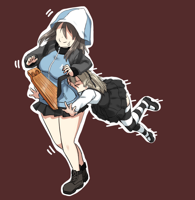 >_< ankle_boots bangs black_footwear black_legwear black_ribbon black_skirt blue_footwear blue_hat blue_jacket blue_skirt boots brown_background brown_hair casual closed_mouth commentary emblem faceless faceless_female girls_und_panzer hair_ribbon hat high-waist_skirt hikyakuashibi holding holding_instrument instrument jacket jumping kantele keizoku_military_uniform layered_skirt light_brown_hair long_hair long_sleeves mary_janes mika_(girls_und_panzer) military military_uniform miniskirt motion_lines multiple_girls pleated_skirt raglan_sleeves ribbon shimada_arisu shirt shoes side_ponytail skirt smile standing striped striped_legwear suspender_skirt suspenders sweatdrop tackle thighhighs track_jacket uniform white_shirt