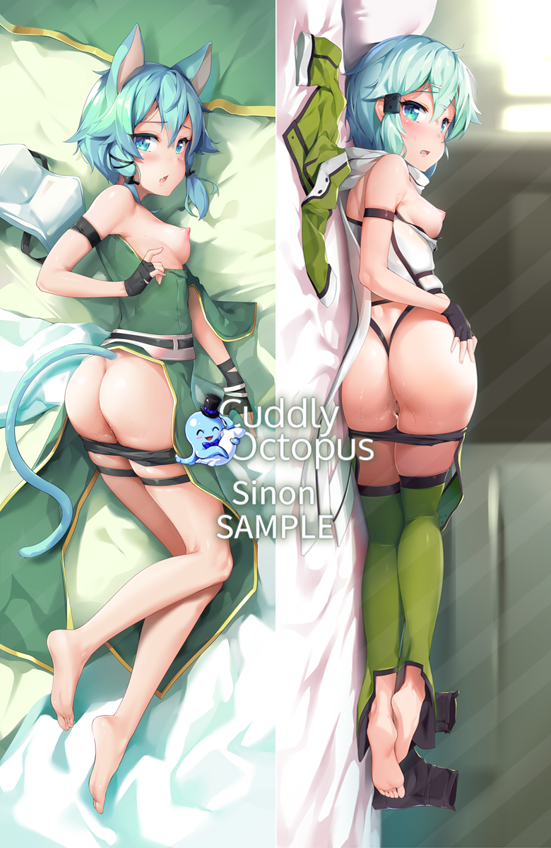 animal_ears ass bare_shoulders barefoot black_shorts blue_eyes blue_hair breasts cat_ears cat_tail dakimakura feet from_behind full_body hair_between_eyes hair_ribbon highres jacket jacket_removed looking_at_viewer looking_back lying medium_breasts multiple_views nipples on_side ribbon sample shiny shiny_hair shiny_skin short_hair short_hair_with_long_locks short_shorts shorts shorts_pull shuffle_(songdatiankong) sidelocks sinon sinon_(sao-alo) soles sweat sword_art_online tail