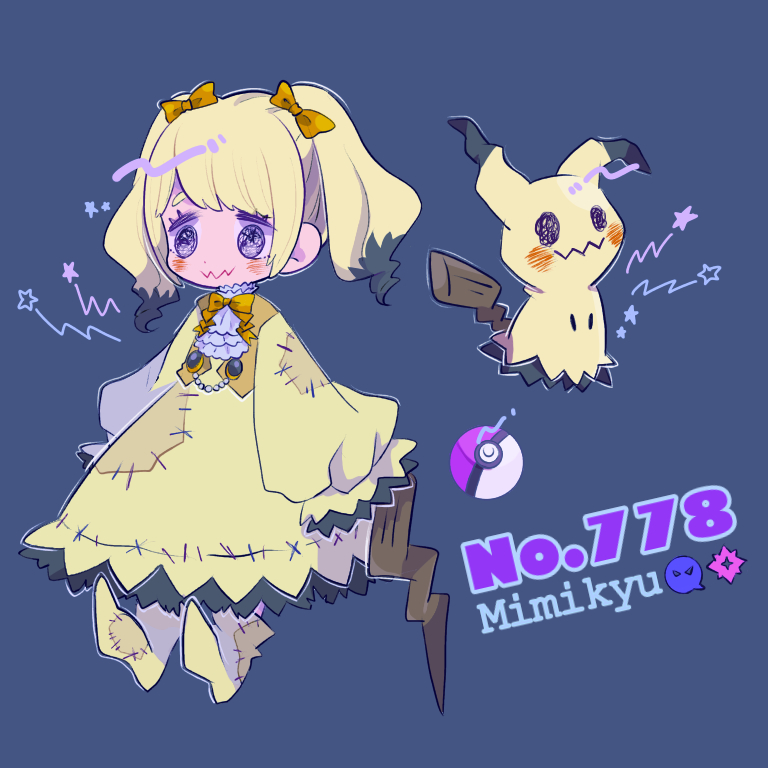 1girl bangs blonde_hair blue_background blush bow character_name closed_mouth dress frills gen_7_pokemon hair_bow long_hair long_sleeves mameeekueya mimikyu moemon multicolored_hair patches personification poke_ball pokemon pokemon_(creature) shoes sidelocks simple_background standing star twintails wide_sleeves yellow_bow yellow_dress yellow_footwear