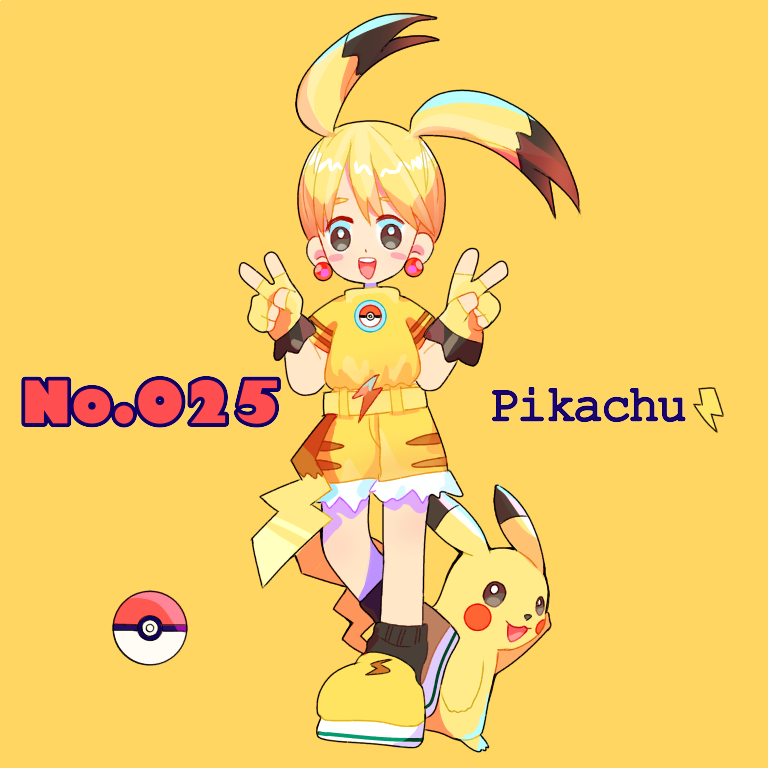 1girl belt black_eyes black_legwear blonde_hair blush blush_stickers character_name double_v earrings english_text female fingerless_gloves full_body gen_1_pokemon gloves hands_up happy looking_at_viewer mameeekueya open_mouth personification pikachu poke_ball poke_ball_(generic) poke_ball_theme pokemon pokemon_(creature) pokemon_number shiny shiny_hair shirt shoes short_hair short_shorts short_sleeves shorts simple_background smile socks standing teeth text_focus v yellow_background yellow_footwear yellow_gloves yellow_shirt yellow_shorts