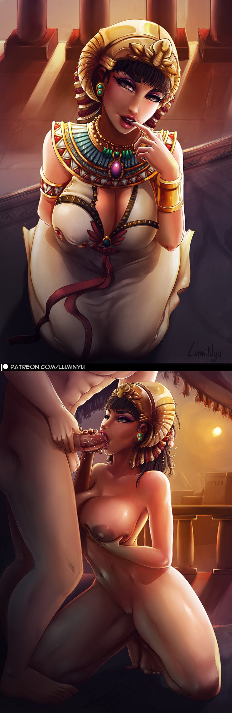 1girl areolae barefoot breast_grab breasts brown_eyes brown_hair civilization_(series) civilization_vi cleft_of_venus cleopatra curvy dark_areolae dark_skin dress egyptian egyptian_clothes erection eyelashes eyeliner eyeshadow fellatio gold_trim grabbing hand_on_another's_head hand_on_own_penis head_out_of_frame headdress hetero highres jewelry large_breasts lips lipstick luminyu makeup mascara mouth navel nipples nude open_mouth oral patreon_logo patreon_username penis pink_lipstick purple_eyeshadow pussy saliva self_fondle signature solo_focus testicles thick_thighs thighs uncensored usekh_collar