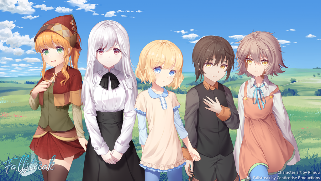 1boy 4girls bangs blonde_hair blood blood_on_face blue_eyes blue_sky brown_hair cloud cloudy_sky commission day dress fallstreak game_sprite grass green_eyes hair_between_eyes hat landscape long_hair long_sleeves looking_at_viewer meadow multiple_girls orange_hair outdoors pink_eyes rimuu scenery short_hair sky smile standing straight_hair thighhighs tree wavy_hair white_hair yellow_eyes