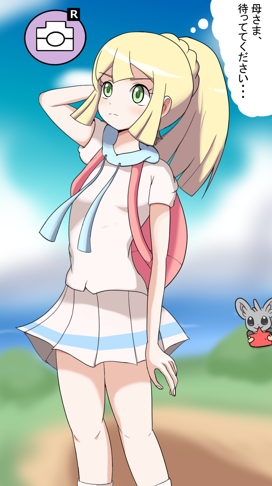 1girl arm_behind_head arm_up backpack bag blonde_hair blue_sky blush braid cloud female french_braid gameplay_mechanics gen_4_pokemon gen_5_pokemon green_eyes highres japanese_text kaimu_(qewcon) lillie_(pokemon) looking_up minccino outdoors pleated_skirt pokemon pokemon_(creature) pokemon_(game) pokemon_sm ponytail rotom rotom_dex shiny shiny_hair shirt short_sleeves skirt sky socks solo_focus standing text_focus thought_bubble tied_hair translated white_legwear white_shirt white_skirt