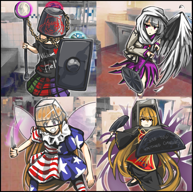 4girls american_flag_dress american_flag_legwear blonde_hair bucket bucket_on_head chains clownpiece container earth english epic fairy_wings fighting_stance hecatia_lapislazuli jacket junko_(touhou) kaliningradg kishin_sagume kitchen knife ladle legacy_of_lunatic_kingdom moon multiple_girls object_on_head open_clothes open_jacket shield shirt single_wing skirt t-shirt touhou what white_hair wings