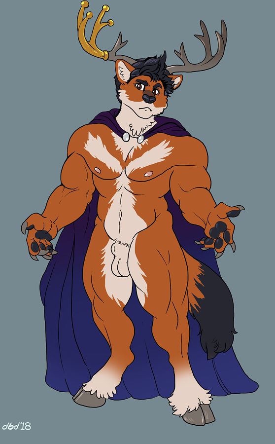 animal_genitalia anthro antlers balls canine cape cervine clothing dbd horn hybrid male mammal muscular muscular_male navel pecs sheath simple_background solo standing