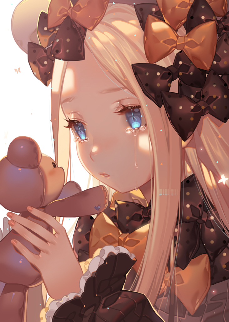 1girl abigail_williams_(fate/grand_order) bangs black_bow black_dress black_hat blonde_hair blue_eyes bow bug butterfly crying crying_with_eyes_open dress fate/grand_order fate_(series) fingernails forehead hair_bow hands_up hat heart holding holding_stuffed_animal insect joenny long_hair long_sleeves looking_away orange_bow parted_bangs parted_lips polka_dot polka_dot_bow simple_background sleeves_past_wrists solo stuffed_animal stuffed_toy tears teddy_bear very_long_hair white_background