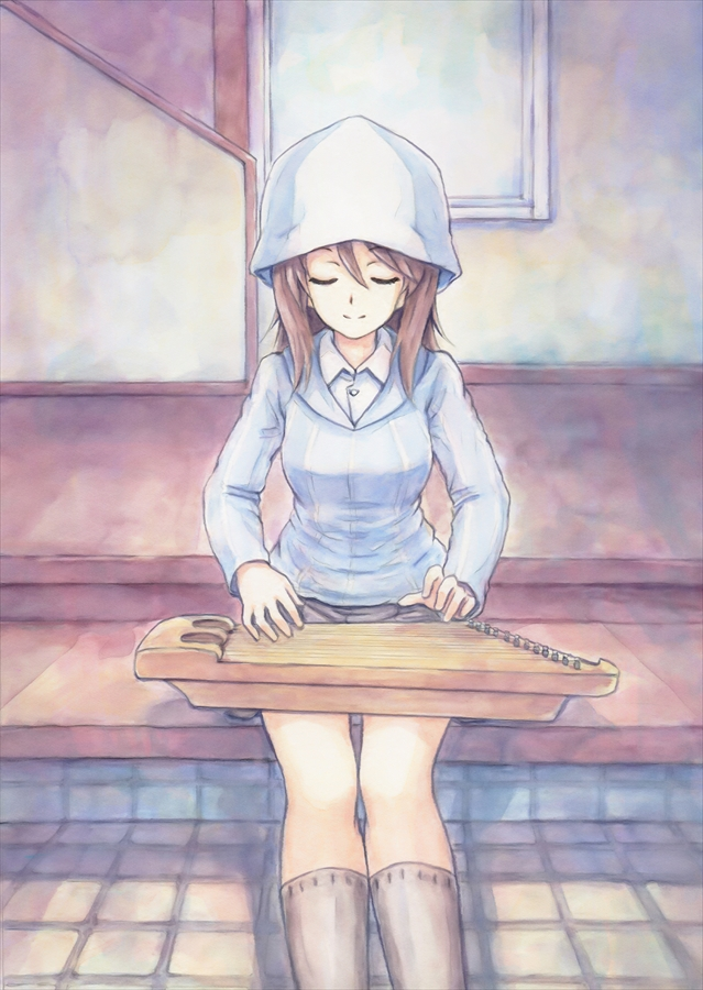 bangs blue_hat blue_shirt brown_hair closed_eyes closed_mouth commentary dress_shirt facing_viewer girls_und_panzer grey_legwear grey_skirt hat holding holding_instrument indoors instrument kantele keizoku_school_uniform kneehighs long_hair long_sleeves mika_(girls_und_panzer) miniskirt music omachi_(slabco) playing_instrument pleated_skirt school_uniform shirt sitting skirt smile socks solo striped striped_shirt vertical-striped_shirt vertical_stripes white_shirt
