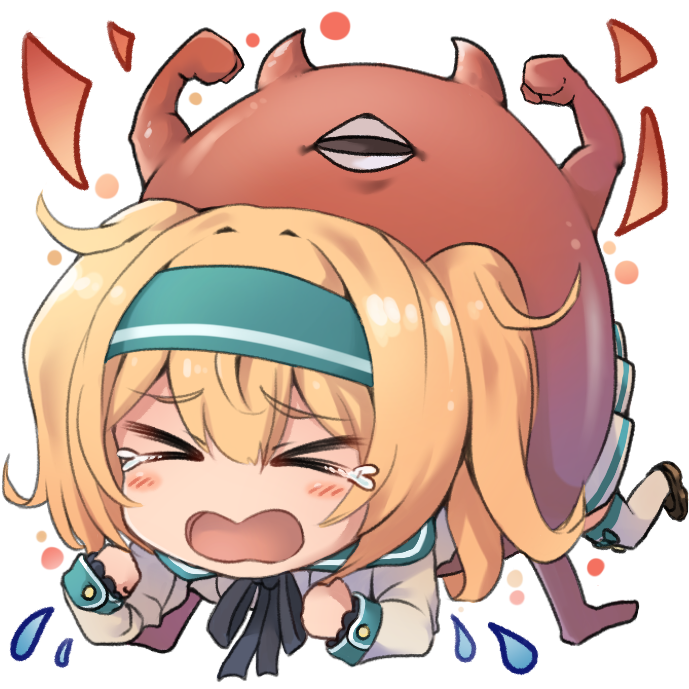 >_< ahoge alternate_costume bangs blonde_hair blush breasts commentary_request crying dyson_(edaokunnsaikouya) enemy_lifebuoy_(kantai_collection) eyebrows_visible_through_hair flexing gambier_bay_(kantai_collection) hair_between_eyes hairband kantai_collection large_breasts long_hair long_sleeves neck_ribbon open_mouth pose ribbon shinkaisei-kan sidelocks simple_background stuck tears twintails white_background