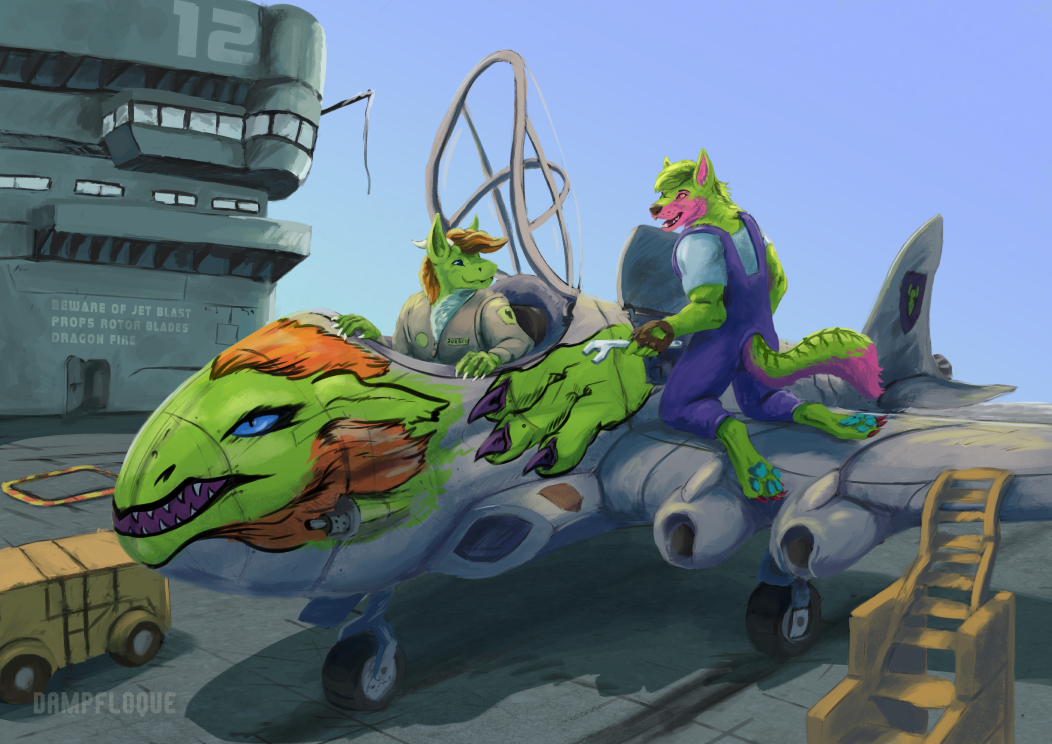 aircraft aircraft_carrier airplane canine dragon ef24 eurofurence jet mammal mechanic wolf