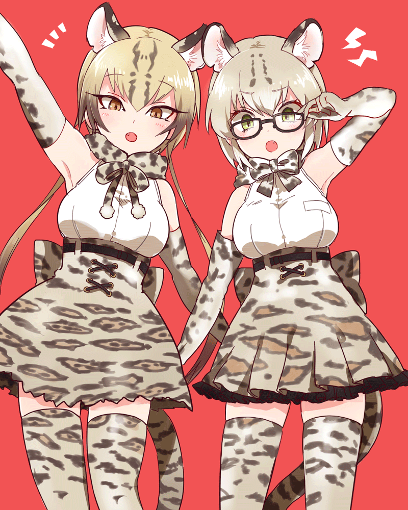 2015 50yen 5_fingers absolute_territory amber_eyes angry animal_humanoid annoyed armwear belt big_breasts blonde_hair blush bow bow_tie breasts brown_clothing brown_hair brown_tail cat_humanoid clothing cute_fangs duo elbow_gloves eyelashes eyewear feline feline_humanoid female front_view glasses gloves green_eyes hair humanoid humanoid_hands inner_ear_fluff kemono_friends leopard_print light_skin looking_at_viewer mammal margay margay_(kemono_friends) multicolored_hair ocelot ocelot_(kemono_friends) open_mouth portrait raised_arm red_background ribbons scarf shirt short_hair side_by_side simple_background skirt slit_pupils spotted_hair standing tan_hair tan_skin three-quarter_portrait two_tone_hair white_clothing