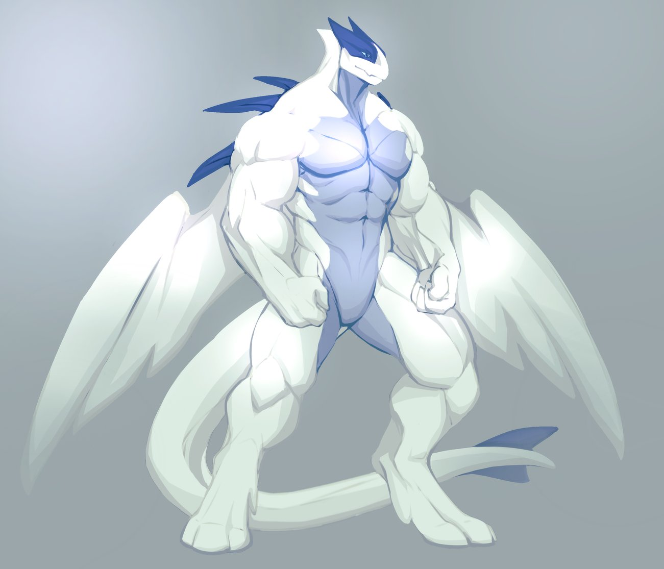 abs anthro biceps big_muscles blue_eyes blue_skin digital_media_(artwork) legendary_pokémon lugia mal_ek male muscular muscular_male nintendo pecs pokémon pokémon_(species) pose simple_background solo spines standing video_games wings