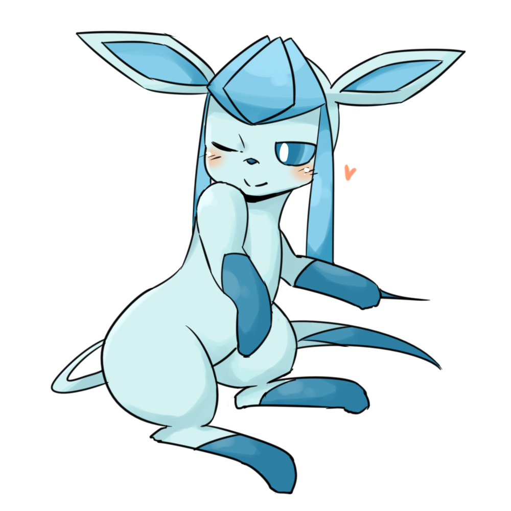 <3 ambiguous_gender blush eeveelution feral glaceon mammal matamata_(artist) nintendo nude one_eye_closed pokémon pokémon_(species) simple_background sitting smile solo video_games