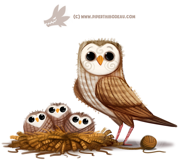 ambiguous_gender avian ball_of_yarn barn_owl bird black_eyes cryptid-creations feathered_wings feathers feral group humor nest owl pun simple_background white_background wings yarn young