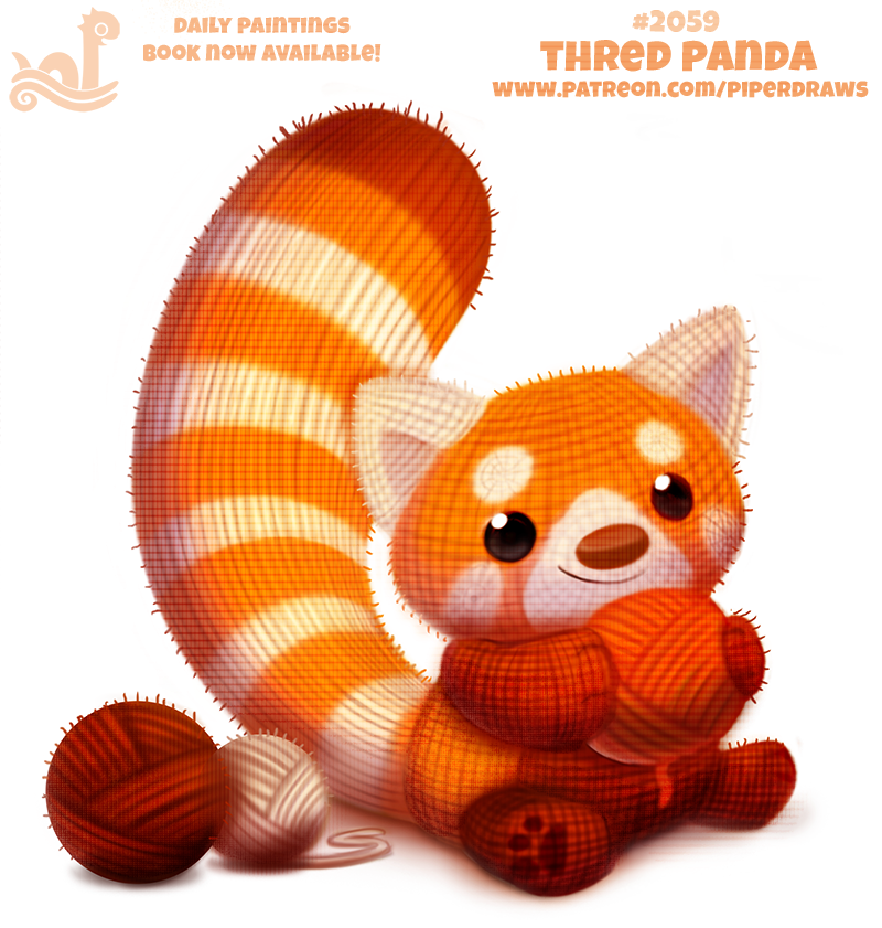 ambiguous_gender ball_of_yarn black_eyes cryptid-creations feral humor mammal pawpads plushie pun red_panda simple_background smile solo white_background yarn