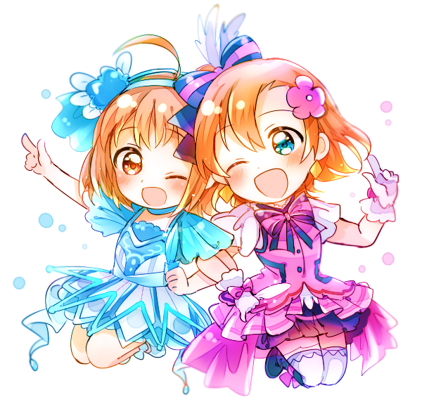 2girls ;d ahoge arm_up bangs blue_dress blue_eyes blush boots bow bowtie chibi dress earrings feathers flower gloves hair_bow hair_feathers hair_flower hair_ornament hairband hand_up index_finger_raised jewelry jumping kanarin97 kira-kira_sensation! kousaka_honoka locked_arms love_live! love_live!_school_idol_project love_live!_sunshine!! multiple_girls one_eye_closed open_mouth orange_hair overskirt pink_dress red_eyes short_hair smile striped_neckwear takami_chika thighhighs water_blue_new_world white_background white_gloves