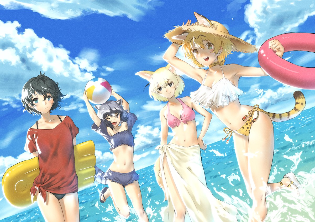 4girls :d adapted_costume animal_ears arm_at_side arm_up armpits arms_behind_back arms_up ball bare_arms bare_legs bare_shoulders barefoot_sandals beachball bikini bikini_under_clothes black_bikini black_hair blonde_hair blue_eyes blue_sky choker closed_mouth cloud cloudy_sky collarbone common_raccoon_(kemono_friends) crop_top day dutch_angle ears_through_headwear extra_ears fennec_(kemono_friends) floating_hair fox_ears fox_tail frilled_bikini frills front-tie_bikini front-tie_top grey_hair hand_on_headwear hand_on_hip hand_up hat hips holding holding_ball innertube kaban_(kemono_friends) kemokemokouhou kemono_friends kickboard looking_at_another looking_at_viewer midriff multicolored_hair multiple_girls navel ocean off-shoulder_shirt one_eye_closed open_mouth outdoors pink_bikini print_bikini_bottom raccoon_ears raccoon_tail red_shirt running sandals serval_(kemono_friends) serval_ears serval_print serval_tail shirt short_hair short_sleeves shorts side-tie_bikini side-tie_bottom sky smile splashing standing stomach straw_hat striped_tail swimsuit tail toes wading water wavy_hair white_bikini_top white_hair