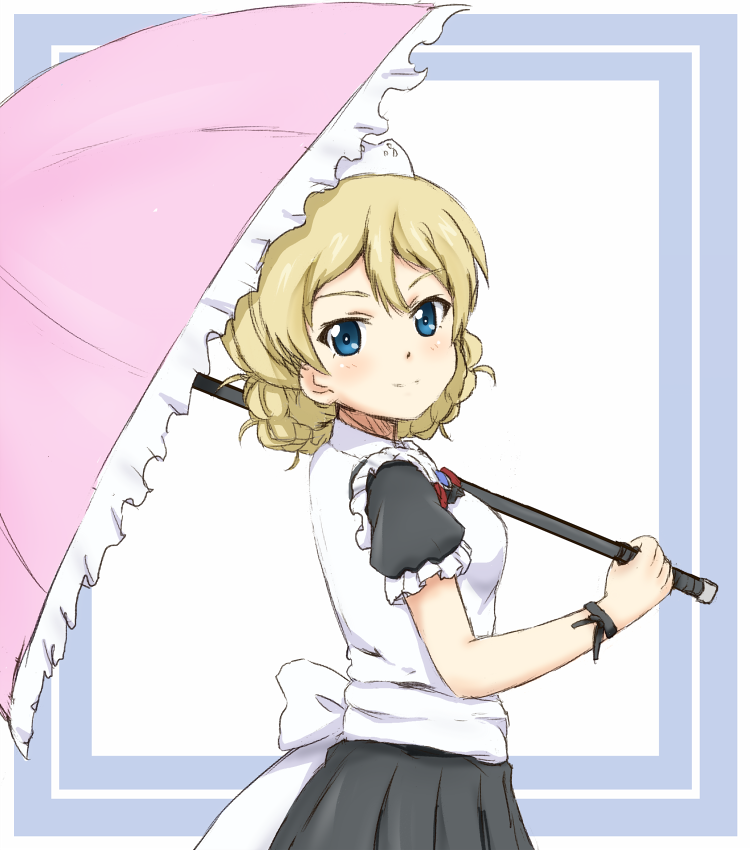 1girl back_bow black_skirt blonde_hair blue_eyes blush bow bracelet darjeeling eyebrows_visible_through_hair frilled_umbrella from_side girls_und_panzer hair_between_eyes holding holding_umbrella jewelry looking_at_viewer ma-2_(konkon_kitakitsune) pink_umbrella pleated_skirt short_hair short_sleeves sketch skirt solo standing tied_hair umbrella white_bow