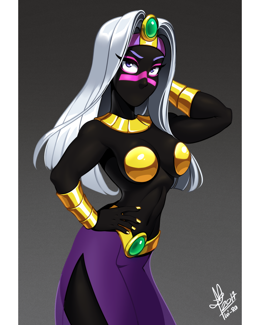2017 alien breasts colored_nails duck_dodgers female gold_(metal) hair lui-ra pose purple_eyes queen_tyr'ahnee solo white_hair