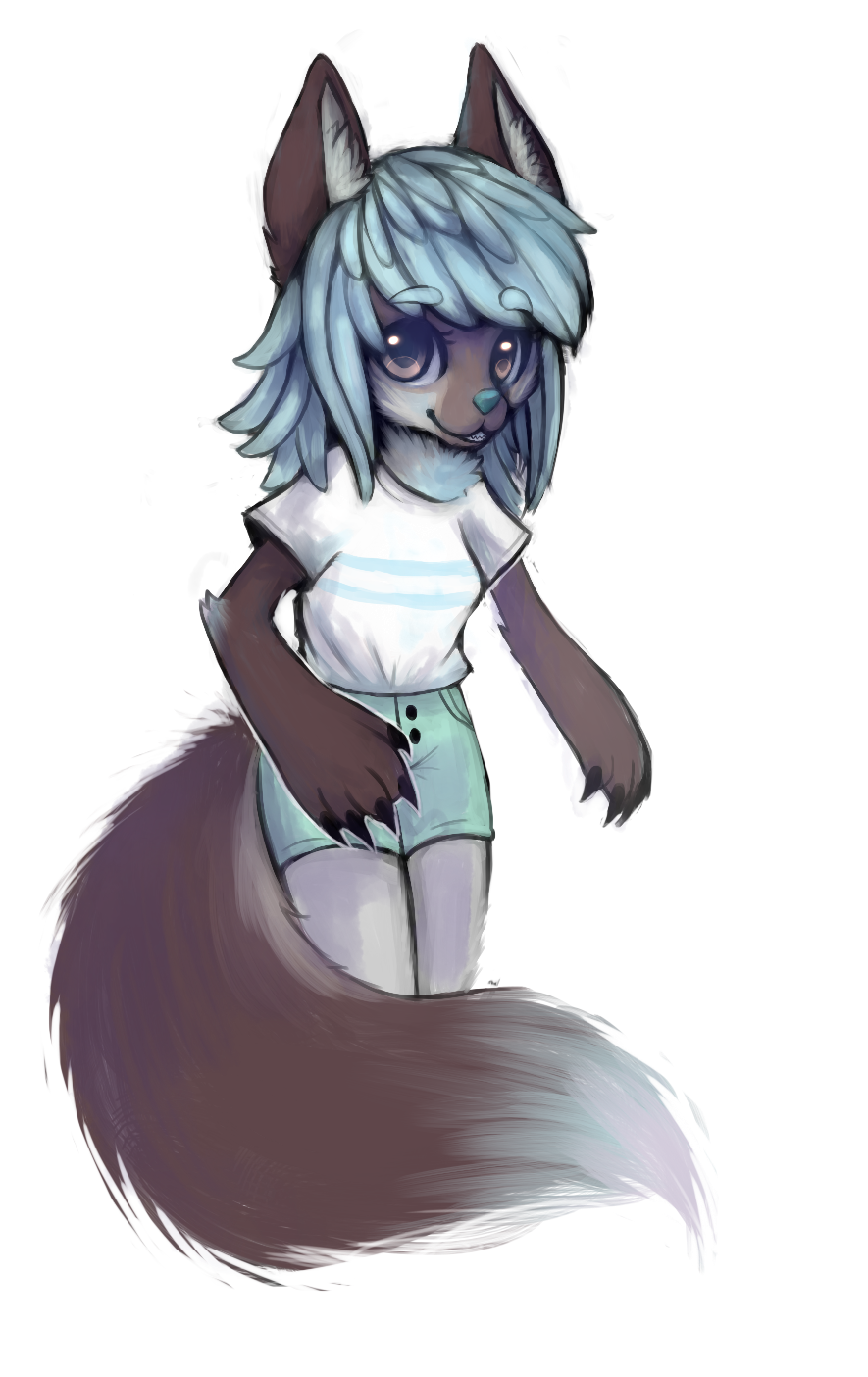 alpha_channel anthro canine chibi clothed clothing female fur galaxymonster hair looking_at_viewer mammal simple_background smile solo standing transparent_background