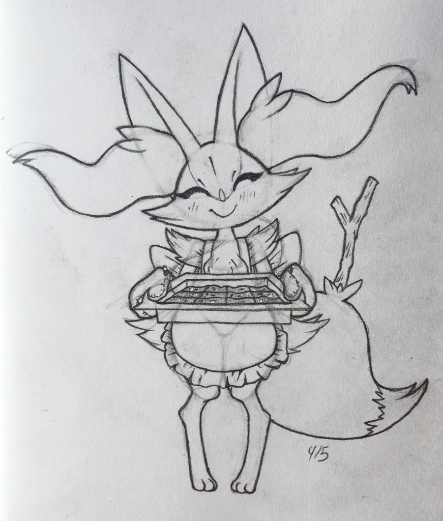 anthro apron baked_goods braixen branch brownies clothing female happy nintendo pokémon pokémon_(species) smile solo tray video_games