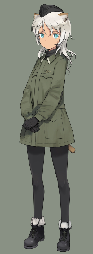 animal_ears black_footwear black_gloves black_legwear blue_eyes cat_ears cat_tail dark_skin full_body garrison_cap giuseppina_ciuinni gloves grey_background grey_hair hat insignia looking_at_viewer military military_uniform shimada_fumikane simple_background solo standing tail uniform world_witches_series