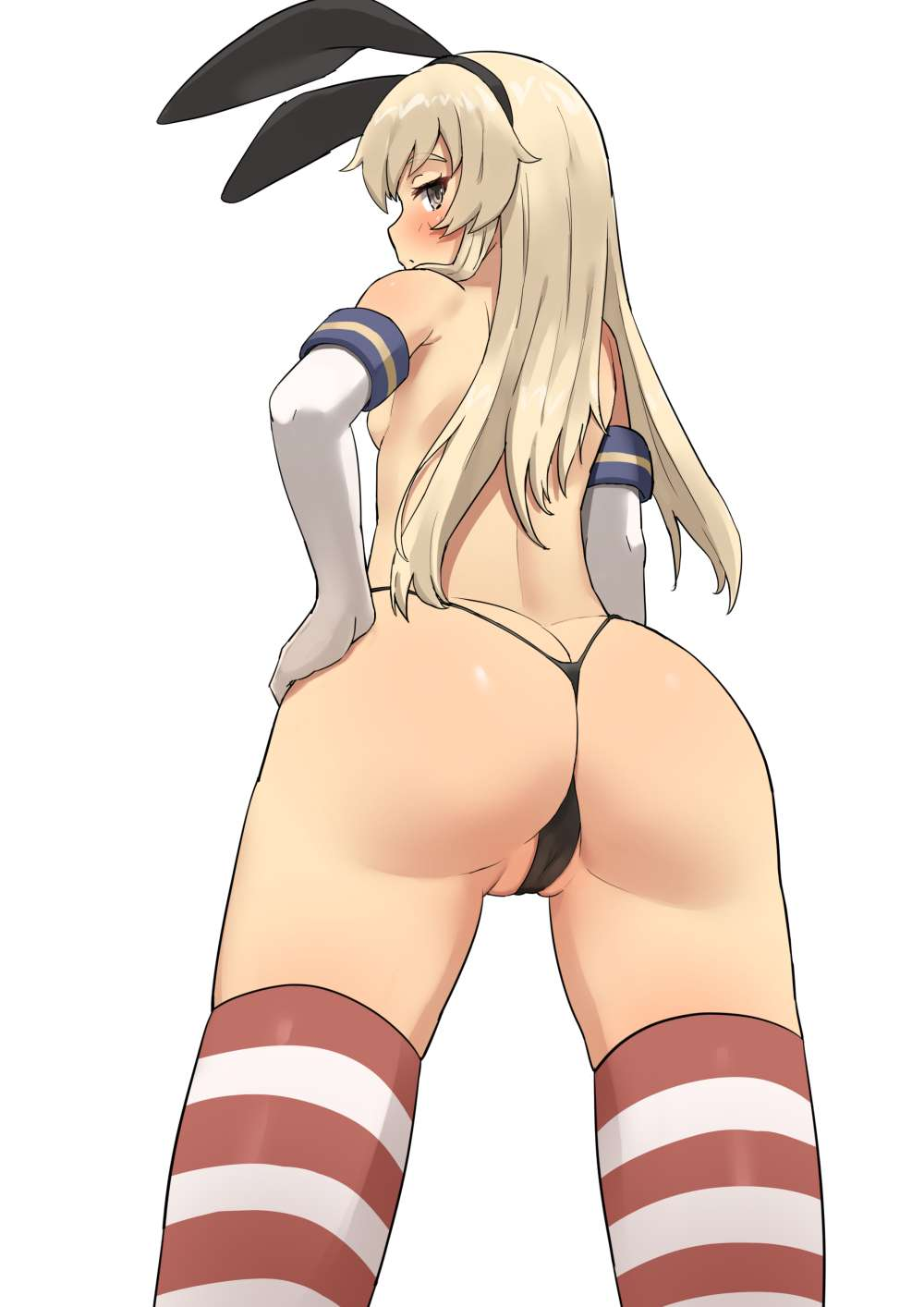 1girl animal_ears arm_at_side ass back bangs black_panties blonde_hair blush breasts bunny_ears butt_crack cameltoe cowboy_shot elbow_gloves eyebrows_visible_through_hair from_behind gloves hair_ornament hairband hand_on_hip highleg highleg_panties highres horizontal-striped_legwear horizontal_stripes kantai_collection legs_apart long_hair looking_at_viewer looking_back no_bra panties partially_visible_vulva shimakaze_(kantai_collection) sideboob sideways_glance sideways_mouth simple_background skindentation small_breasts solo soushou_nin striped striped_legwear thick_eyebrows thighhighs thighs thong topless twisted_neck underwear white_background white_gloves