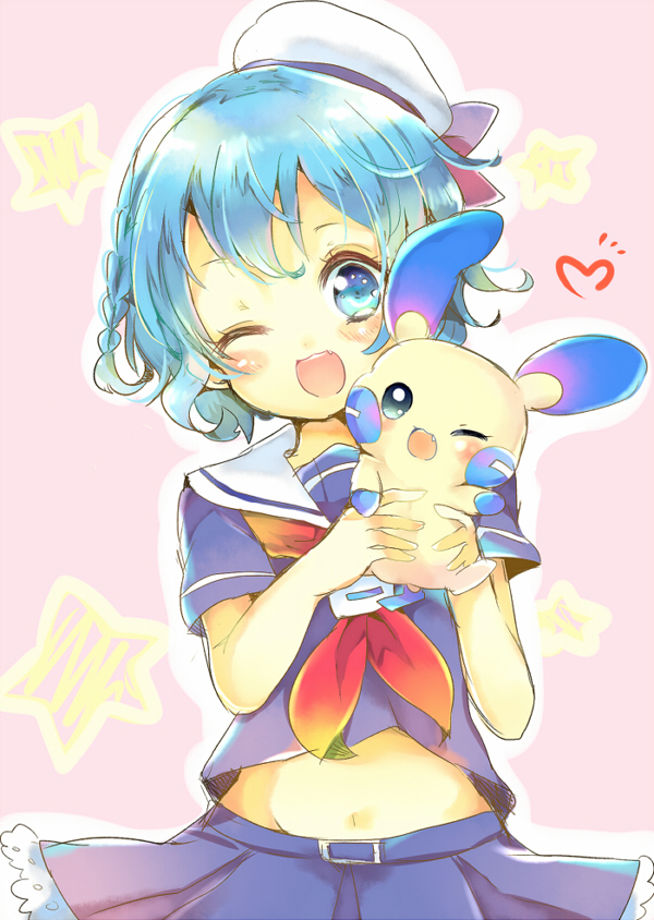 ;d aika_(hikariai66) blue_eyes blue_hair blue_shirt blue_skirt blush braid crossover dorothy_west fangs hat hat_ribbon heart holding holding_pokemon minun navel neckerchief one_eye_closed open_mouth outline pink_background pleated_skirt pokemon pokemon_(creature) pretty_(series) pripara red_neckwear ribbon sailor_collar sailor_hat school_uniform serafuku shirt short_hair short_sleeves side_braid skirt smile star stomach white_outline white_sailor_collar