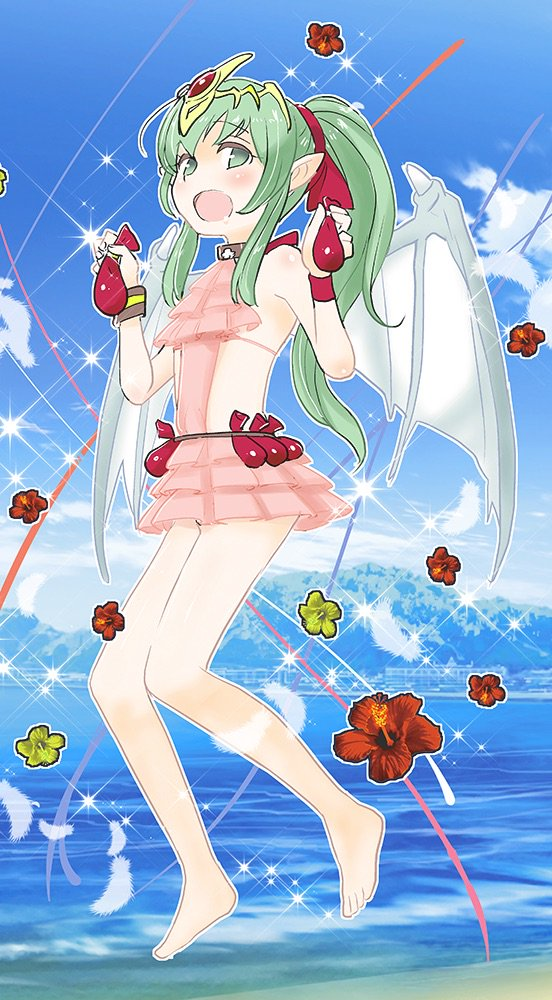 1girl bare_shoulders barefoot blue_sky chiki cloud day dragon_wings fire_emblem fire_emblem:_monshou_no_nazo fire_emblem_heroes flower green_eyes green_hair hair_ribbon long_hair mamkute open_mouth pink_swimsuit pointy_ears ponytail red_ribbon ribbon sasakimuu sky solo swimsuit tiara water wings
