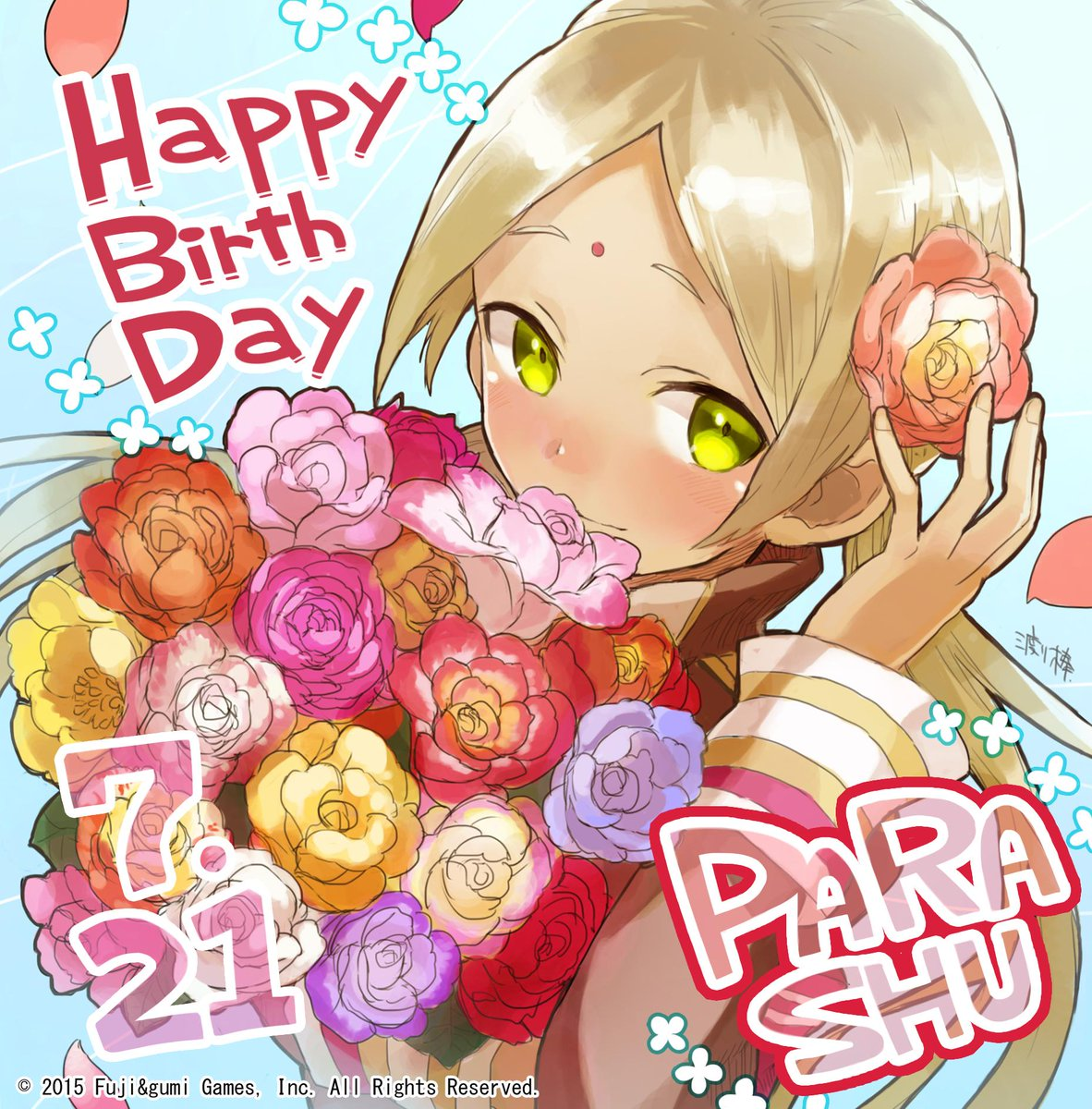 1girl artist_request bindi blonde_hair blush bouquet company_name dark_skin facial_mark flower forehead_mark green_eyes hair_flower hair_ornament happy_birthday highres long_hair low_twintails official_art parashu phantom_of_the_kill rose smile twintails
