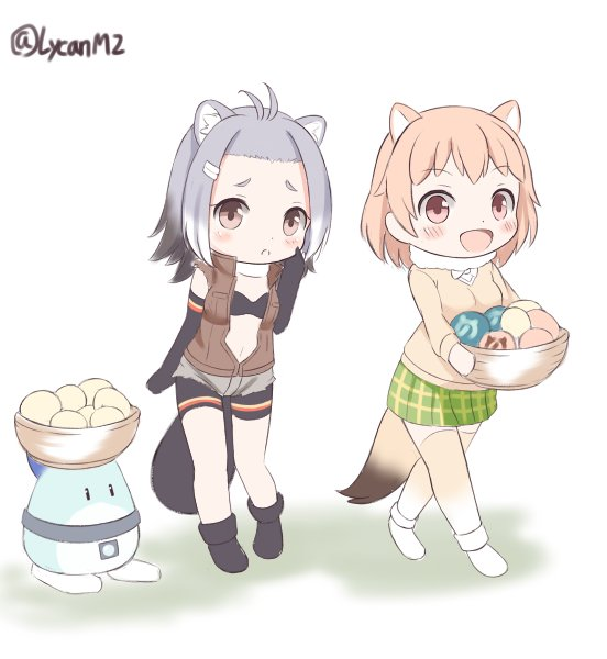 2girls :d american_beaver_(kemono_friends) animal_ears antenna_hair beaver_ears beaver_tail bike_shorts black-tailed_prairie_dog_(kemono_friends) black_footwear black_gloves black_hair black_swimsuit blush bow bowl bowtie brown_eyes brown_hair elbow_gloves extra_ears eyebrows_visible_through_hair food frown fur_collar gloves gradient_hair gradient_legwear green_skirt grey_hair hair_ornament hairclip holding holding_bowl japari_bun japari_symbol kemono_friends long_sleeves looking_at_viewer lucky_beast_(kemono_friends) matsuu_(akiomoi) miniskirt multicolored_hair multiple_girls open_clothes open_mouth open_vest plaid plaid_skirt pleated_skirt prairie_dog_ears prairie_dog_tail shorts skirt smile swimsuit tail thighhighs torn_clothes torn_shorts torn_sleeves twitter_username vest white_background white_hair white_legwear white_neckwear yellow_legwear zettai_ryouiki