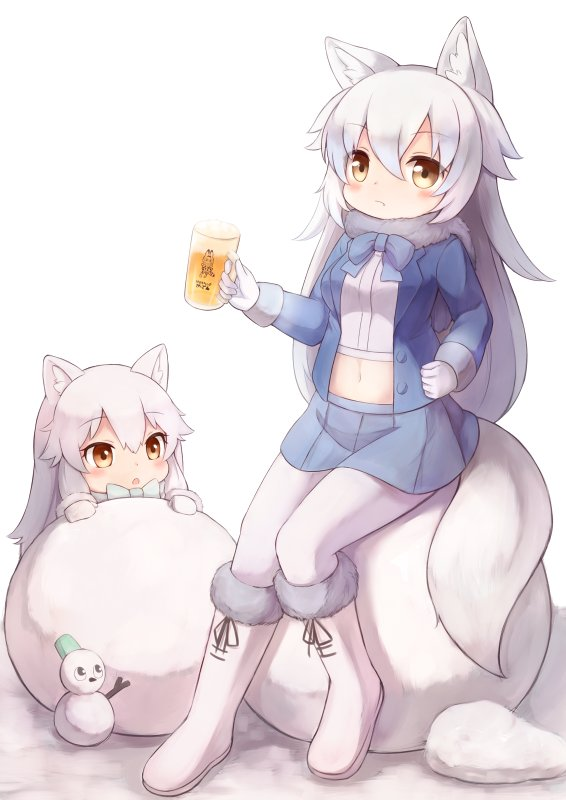 alcohol animal_ears arctic_fox_(kemono_friends) arctic_wolf_(kemono_friends) beer beer_mug blue_neckwear blue_skirt blush bow bowtie buttons commentary cup eyebrows_visible_through_hair fox_ears fur-trimmed_boots fur-trimmed_sleeves fur_collar fur_trim gloves hair_between_eyes holding holding_cup jacket kemono_friends long_hair long_sleeves looking_at_another looking_at_viewer matsuu_(akiomoi) midriff miniskirt multiple_girls navel open_clothes open_jacket pantyhose serval_(kemono_friends) simple_background sitting skirt snowball snowman tail very_long_hair white_background white_footwear white_gloves white_hair white_legwear wolf_ears wolf_tail yellow_eyes