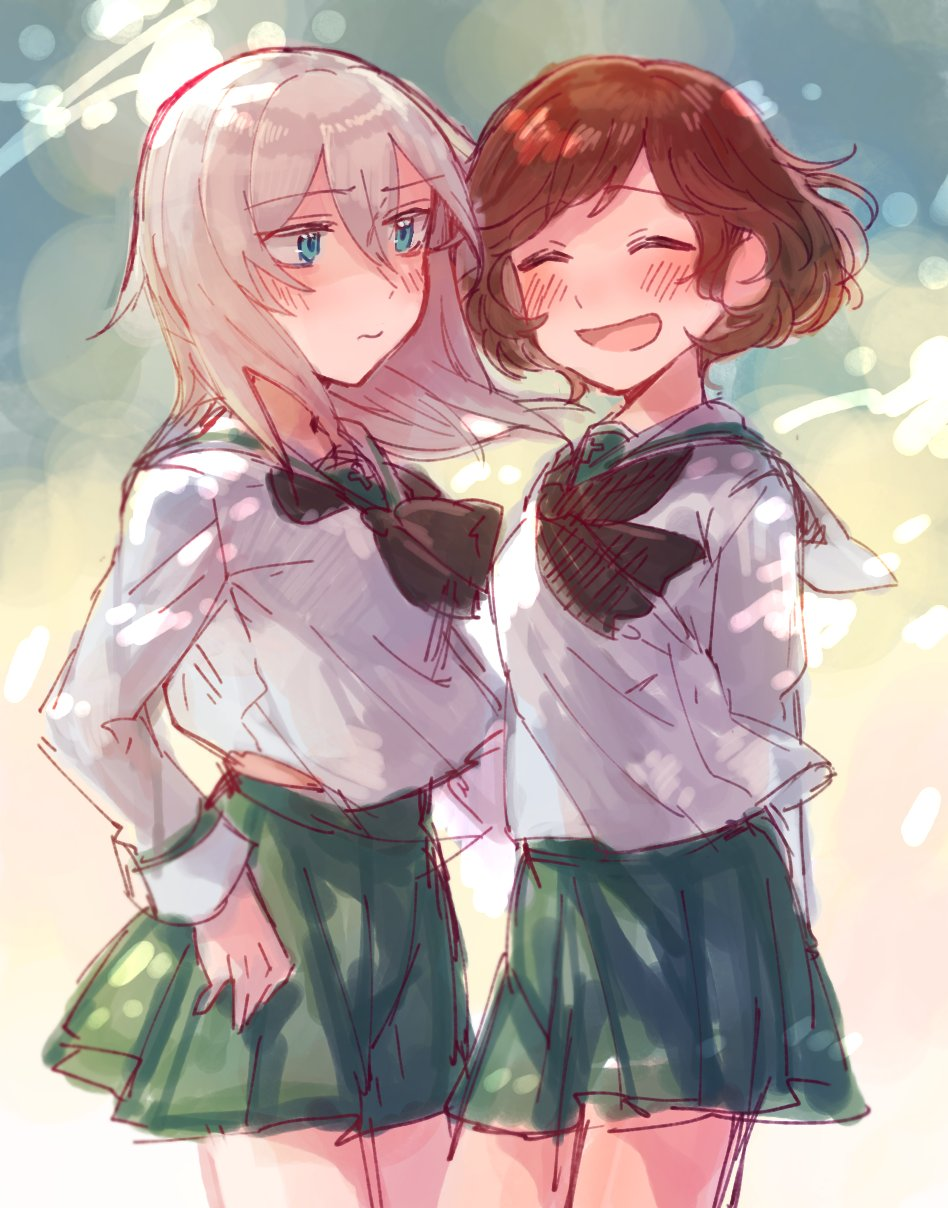 2girls arm_behind_back arms_behind_back black_neckwear blue_eyes blush brown_hair cowboy_shot eyebrows_visible_through_hair eyes_closed girls_und_panzer green_skirt hair_between_eyes highres itsumi_erika long_sleeves multiple_girls nishizumi_maho ooarai_school_uniform painterly school_uniform serafuku short_hair sketch skirt tama_wo white_hair