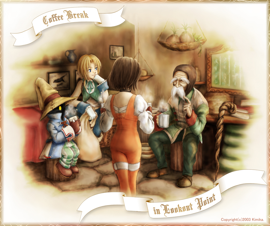 1girl black_hair blonde_hair bodysuit bow bowtie commentary_request final_fantasy final_fantasy_ix garnet_til_alexandros_xvii gloves kimikahamu multiple_boys orange_bodysuit short_hair vivi_ornitier zidane_tribal