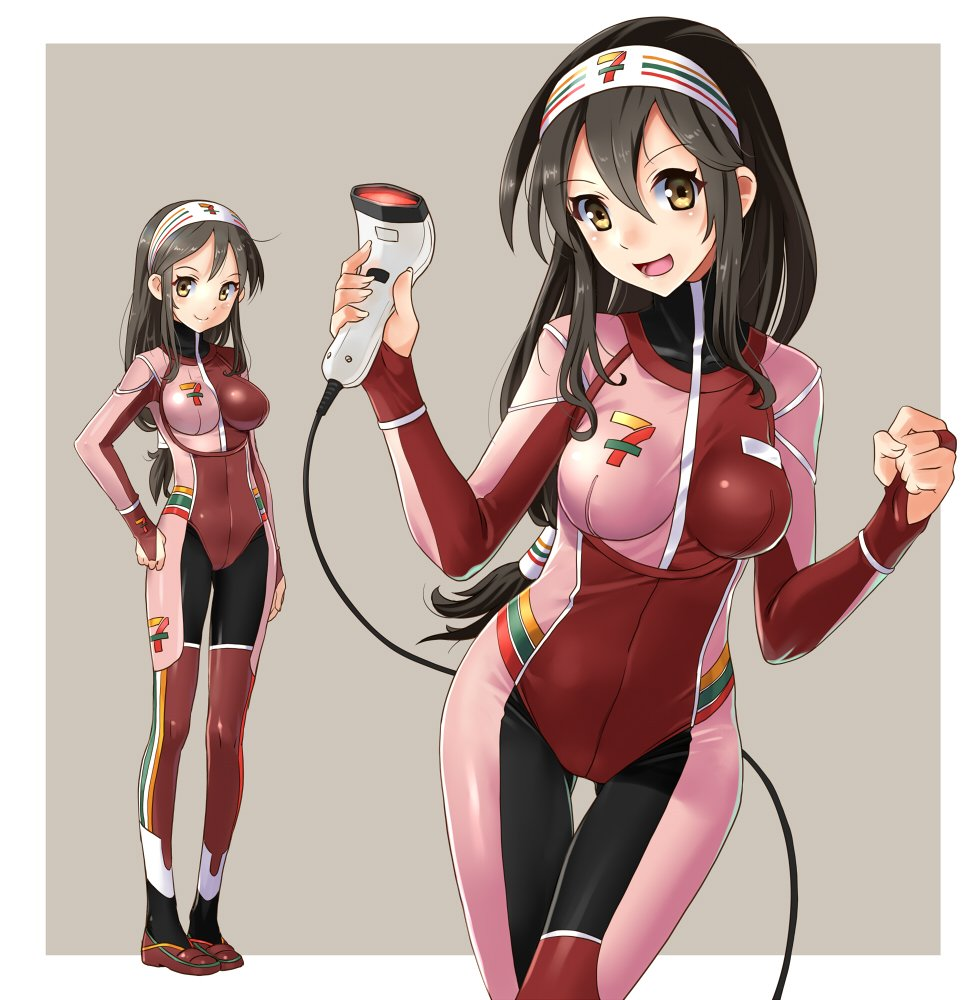 1girl 7-eleven adapted_costume barcode_scanner black_hair bodysuit commentary_request cowboy_shot employee_uniform full_body gluteal_fold hairband katahira_masashi logo long_hair looking_at_viewer low-tied_long_hair multicolored multicolored_bodysuit multicolored_clothes multiple_views original smile standing uniform white_hairband