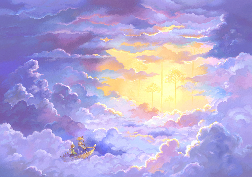 ambiguous_gender blue cloud cloudy_sky day hat oar original outdoors purple rowboat scenery sky straw_hat suijou_ai sunlight traditional_media yellow