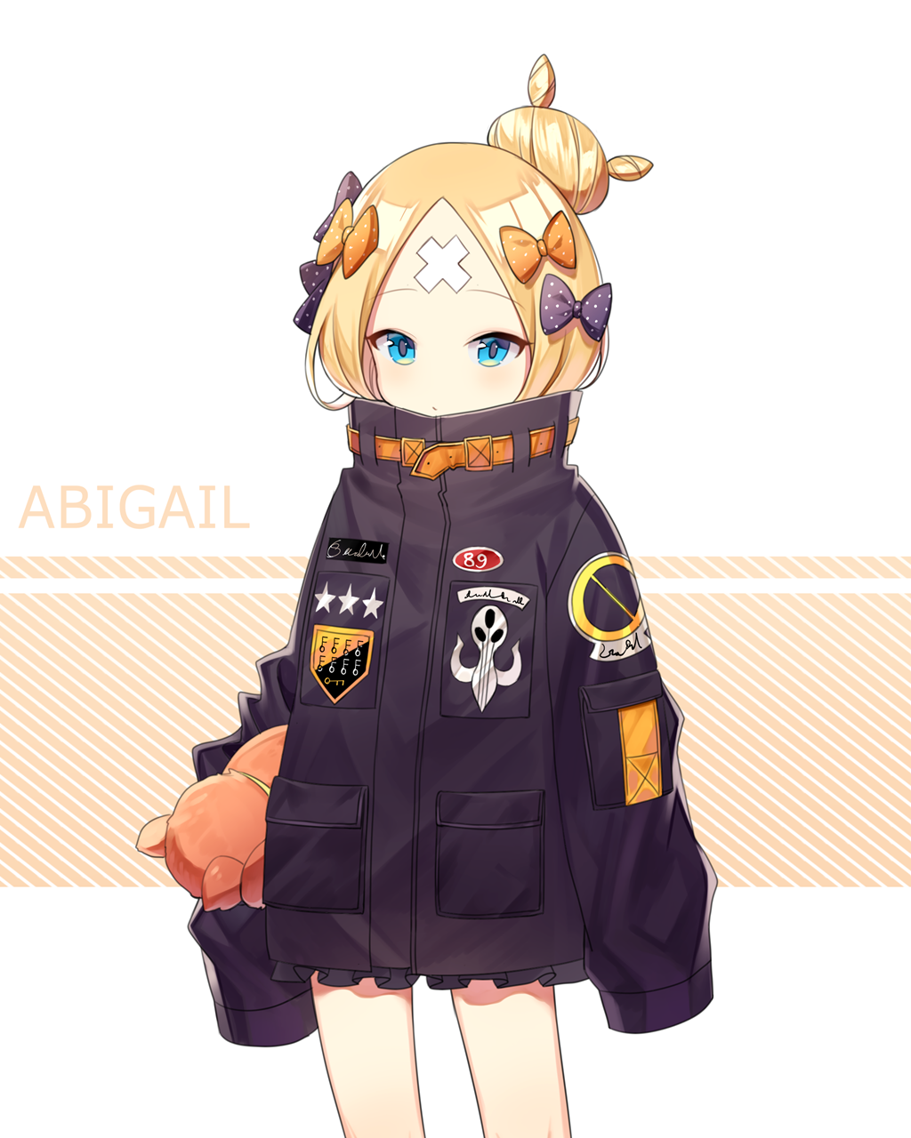 abigail_williams_(fate/grand_order) bad_id bad_pixiv_id bangs black_bow black_jacket blonde_hair blue_eyes bow character_name commentary_request fate/grand_order fate_(series) hair_bow hair_bun heroic_spirit_traveling_outfit highres jacket key long_hair long_sleeves object_hug orange_bow parted_bangs polka_dot polka_dot_bow sal sleeves_past_fingers sleeves_past_wrists solo star stuffed_animal stuffed_toy teddy_bear