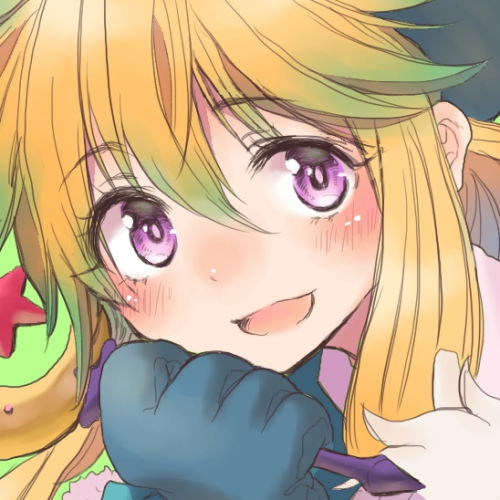 1girl bangs bans blonde_hair blue_gloves blush chin_rest close_up eyebrows_visible_through_hair face gloves hair_between_eyes houshin_engi ko_kibi open_mouth purple_eyes saco_(clover) sidelocks smile solo