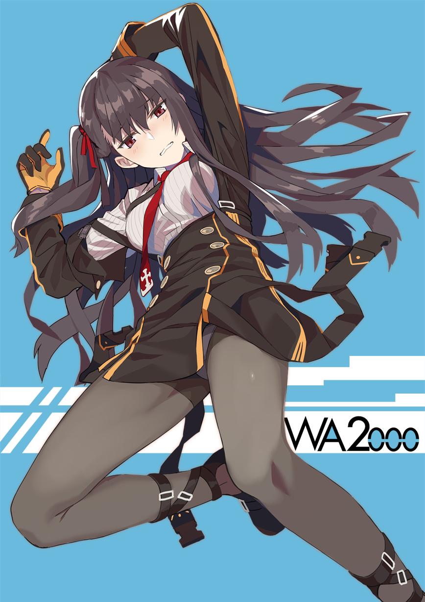 1girl arms_up bangs black_legwear black_skirt blazer blue_background blush breasts buckle collared_shirt eyebrows_visible_through_hair girls_frontline half_updo head_tilt highres jacket large_breasts long_hair looking_at_viewer lying ningen_(ningen96) on_back panties panties_under_pantyhose pantyhose parted_lips purple_hair red_eyes red_neckwear ribbon shirt shoes skirt solo underwear very_long_hair wa2000_(girls_frontline) white_shirt