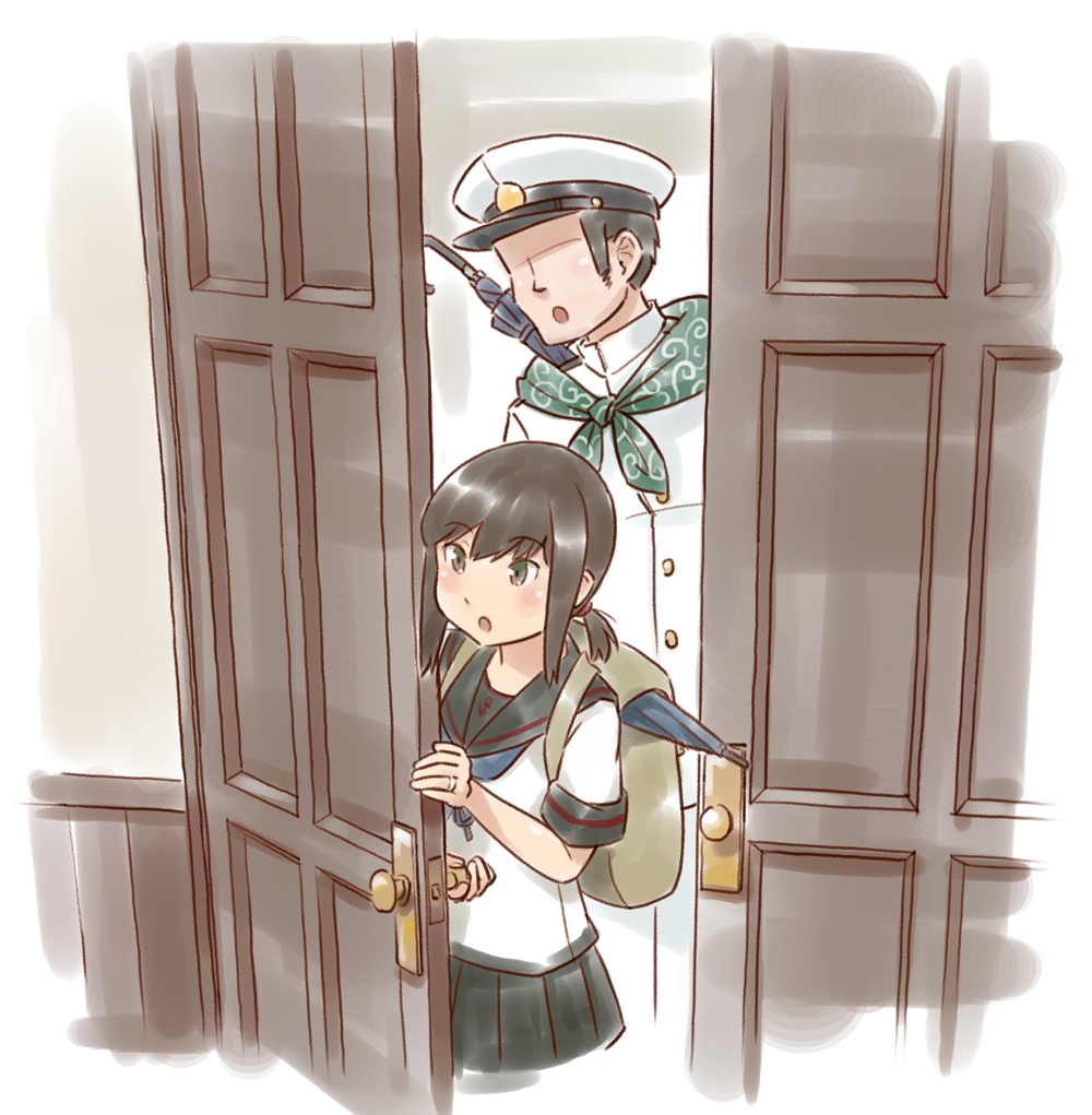 1boy 1girl admiral_(kantai_collection) black_eyes black_hair black_sailor_collar black_skirt commentary_request cowboy_shot door faceless faceless_male fubuki_(kantai_collection) hat jewelry kantai_collection karasu_(naoshow357) low_ponytail military military_uniform naval_uniform peaked_cap pleated_skirt ponytail remodel_(kantai_collection) ring sailor_collar school_uniform serafuku short_ponytail sidelocks skirt uniform wedding_band