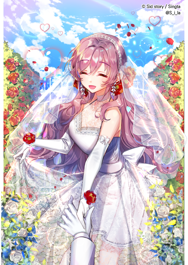 ^_^ ^o^ beads blue_sky bridal_veil bride closed_eyes cloud copyright_name day dress elbow_gloves eyebrows_visible_through_hair flower glove_bow gloves hair_beads hair_flower hair_ornament heart hetero holding_hands interitio lace long_hair male_hand official_art open_mouth outdoors red_flower red_rose rose see-through sid sid_story skirt_hold sky sleeveless sleeveless_dress smile solo_focus standing veil wedding white_dress white_flower white_gloves white_rose