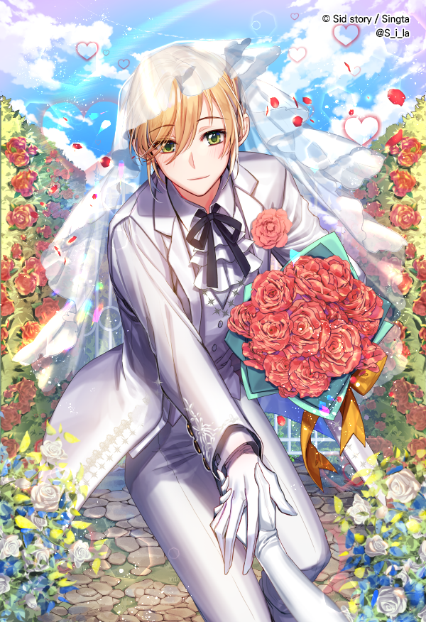 ascot blonde_hair blue_sky bouquet bridal_veil cloud day flower formal gloves green_eyes heart hetero holding holding_bouquet holding_hands interitio light_smile looking_at_viewer male_focus official_art outdoors pants path petals red_flower red_rose road rose sid_story sky solo_focus suit veil vest wedding white_flower white_gloves white_pants white_rose white_suit white_vest