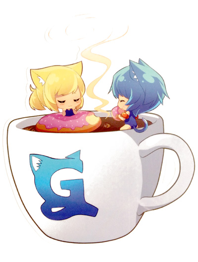 2girls animal_ears arm_floats blonde_hair blue_hair blush born-to-die cat_ears cat_tail coffee cup doughnut eating eyes_closed female food gelbooru innertube logo minigirl multiple_girls official_art one-piece_swimsuit shiny shiny_hair short_hair simple_background sitting smell straight_hair swimming swimsuit tagme tail white_background
